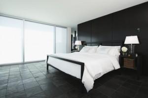 Slate tiled bedroom in upscale home